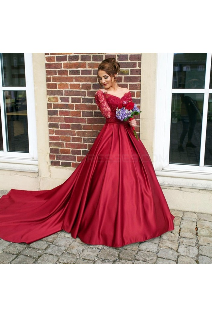 Ball Gown Long Red Long Sleeves Lace Off The Shoulder Prom
