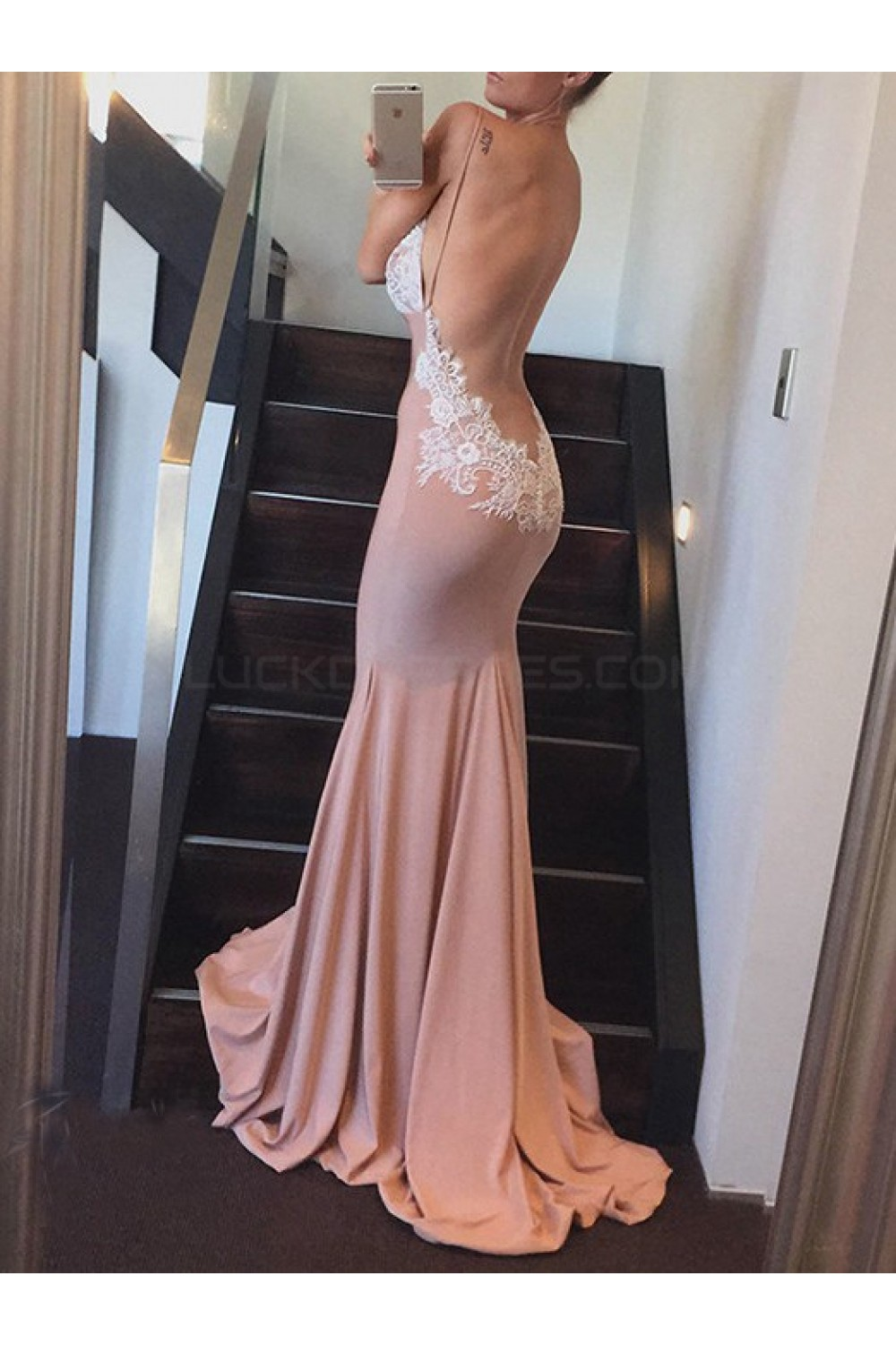 Mermaid V Neck Backless Lace Prom Formal Evening Party