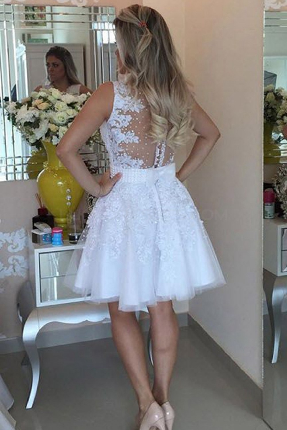 Beaded Lace Short White Prom Homecoming Cocktail