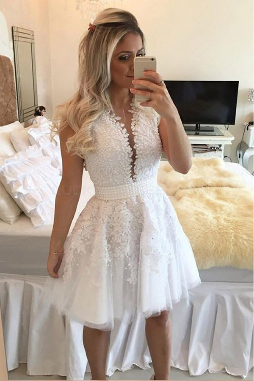 Boho Lace Spaghetti Straps White Formal Dress with Slit #