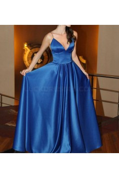 Long Blue Spaghetti Straps Prom Formal Evening Party Dresses 3020985