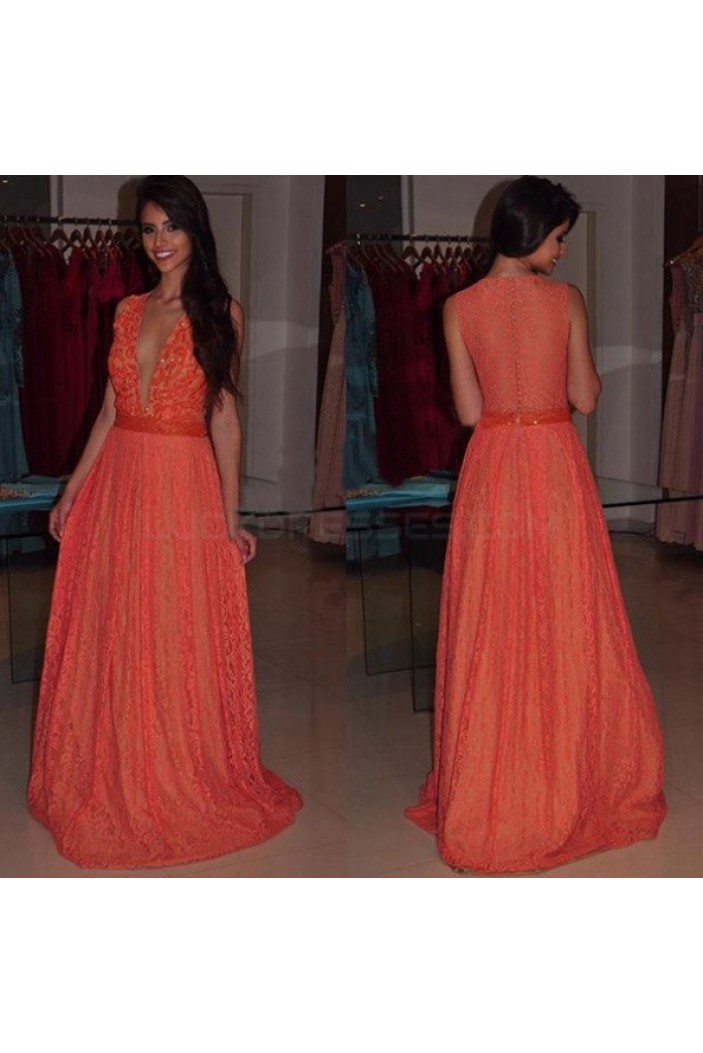 Deep V-Neck Lace Prom Formal Evening Party Dresses 3020991