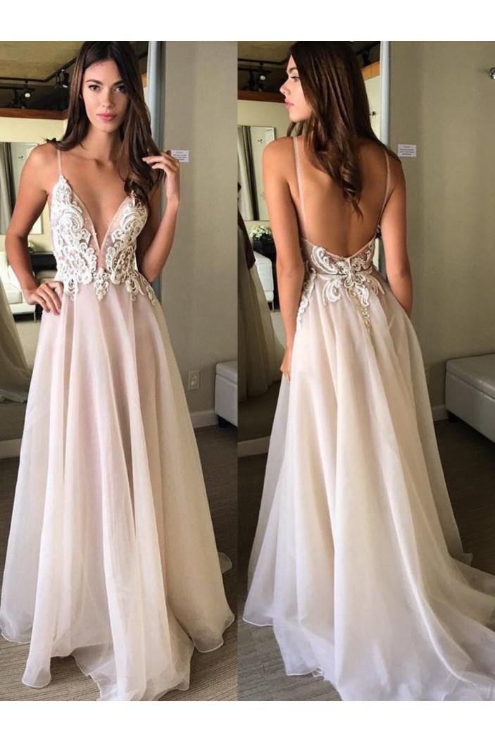 Inexpensive Long Prom Dresses Evening Formal Dresses with Lace Appliques 601001
