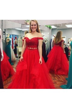 Inexpensive Two Pieces Prom Dresses Long Red Lace Prom Dresses Evening Gowns 601012