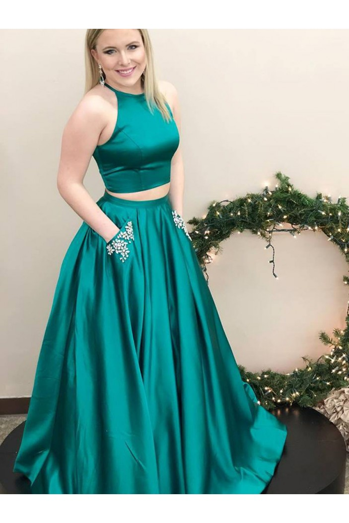 A-Line Two Pieces Beaded Long Prom Dresses Formal Evening Dresses with Pocket 601018
