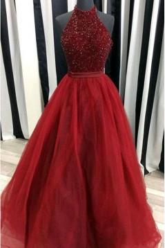 Ball Gown Hatler Beaded Long Burgundy Prom Dresses Formal Evening Dresses 601019