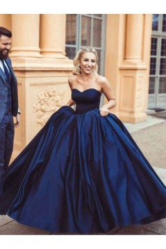 Ball Gown Sweetheart Long Blue Prom Dresses Formal Evening Dresses 601025