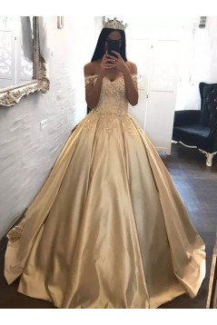 Ball Gown Off-the-Shoulder Lace Satin Long Prom Dresses Formal Evening Dresses 601088