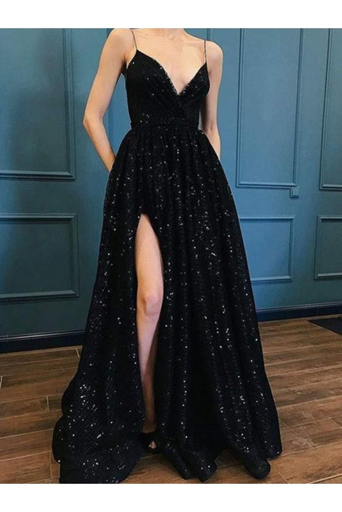 Spaghetti Strap Sparkle Long Black Prom Dresses Formal Evening Dresses 601129