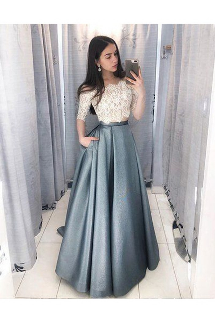 A-Line Two Pieces Lace Prom Dresses Formal Evening Dresses 601137