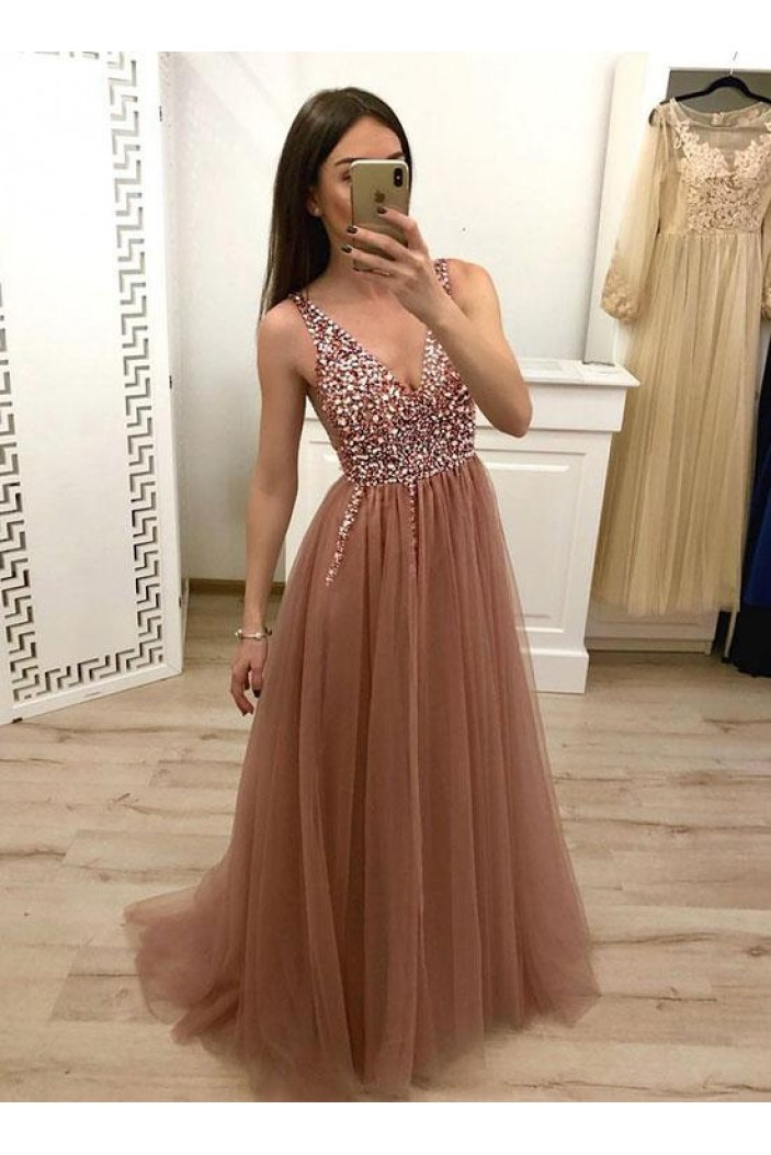 A-Line Beaded V-Neck Tulle Long Prom Dresses Formal Evening Dresses 601143
