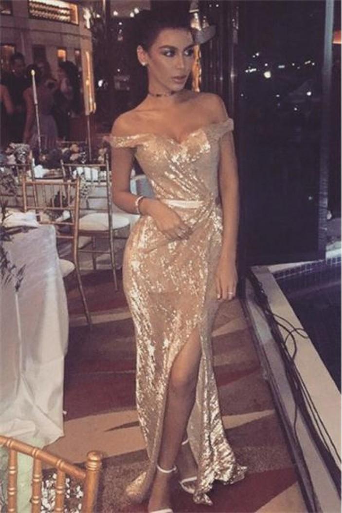 Sparkle Sequined Off-the-Shoulder Long Prom Dresses Formal Evening Dresses 601154
