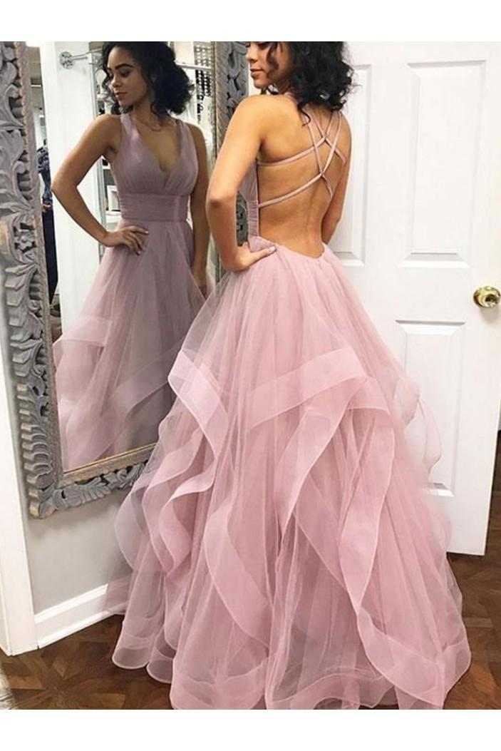 Long Tulle V-Neck Prom Dresses Formal Evening Dresses 601189
