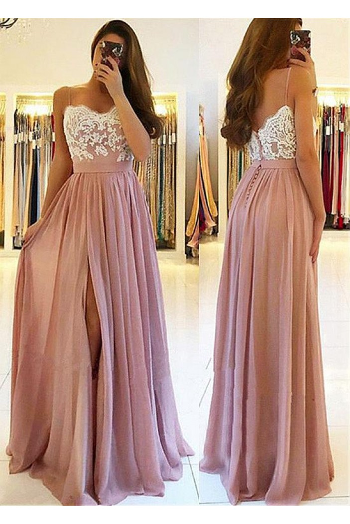 A-Line Lace Chiffon Spaghetti Straps Long Prom Dresses Formal Evening Dresses 601221