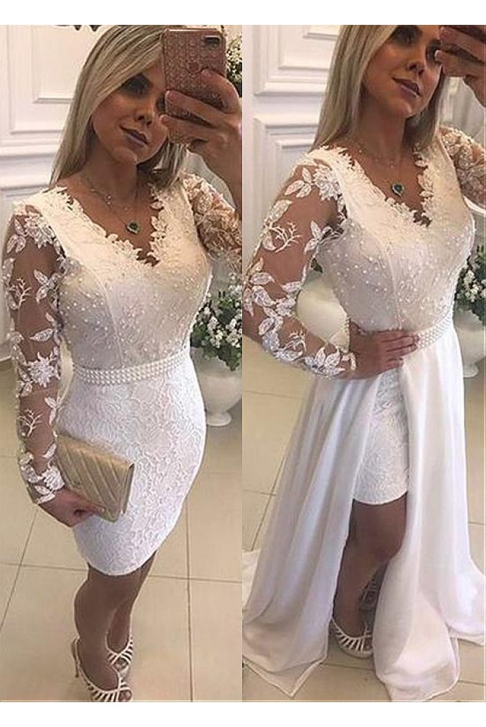 Long Sleeves Beaded V-Neck Lace White Prom Dresses Formal Evening Dresses 601230