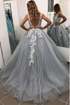 A-Line V-Neck Lace Tulle Long Prom Dresses Formal Evening Dresses 601233