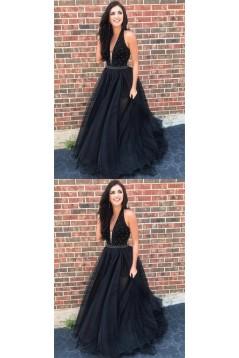 A-Line V-Neck Beaded Black Long Prom Dresses Formal Evening Dresses 601241