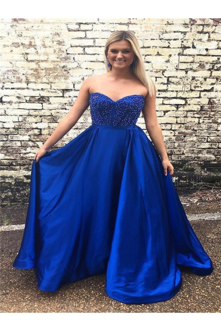 A-Line Sweetheart Beaded Long Prom Dresses Formal Evening Dresses 601263