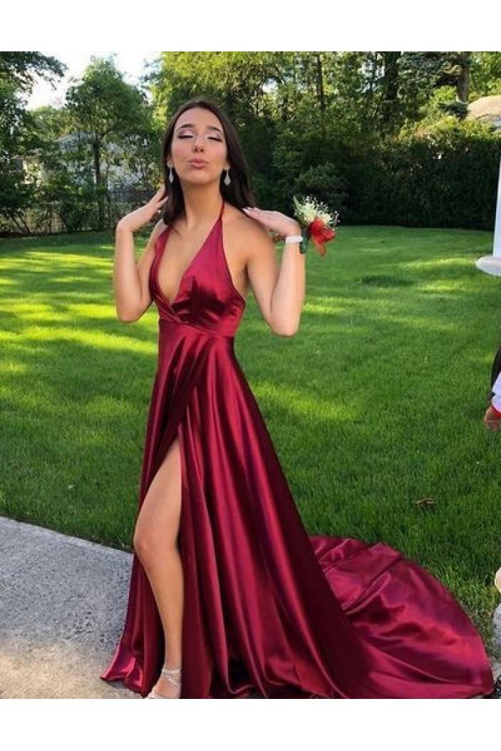 A-Line Halter V-Neck Long Prom Dresses Formal Evening Dresses 601270
