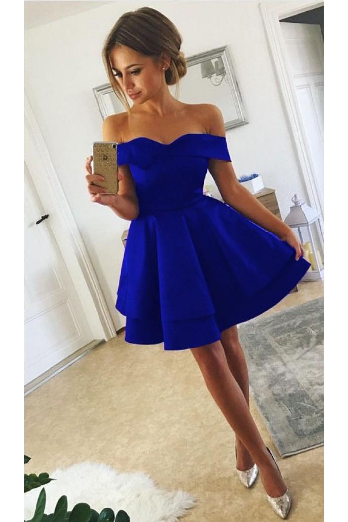 A-Line Off-the-Shoulder Short Prom Dresses Formal Evening Dresses 601283