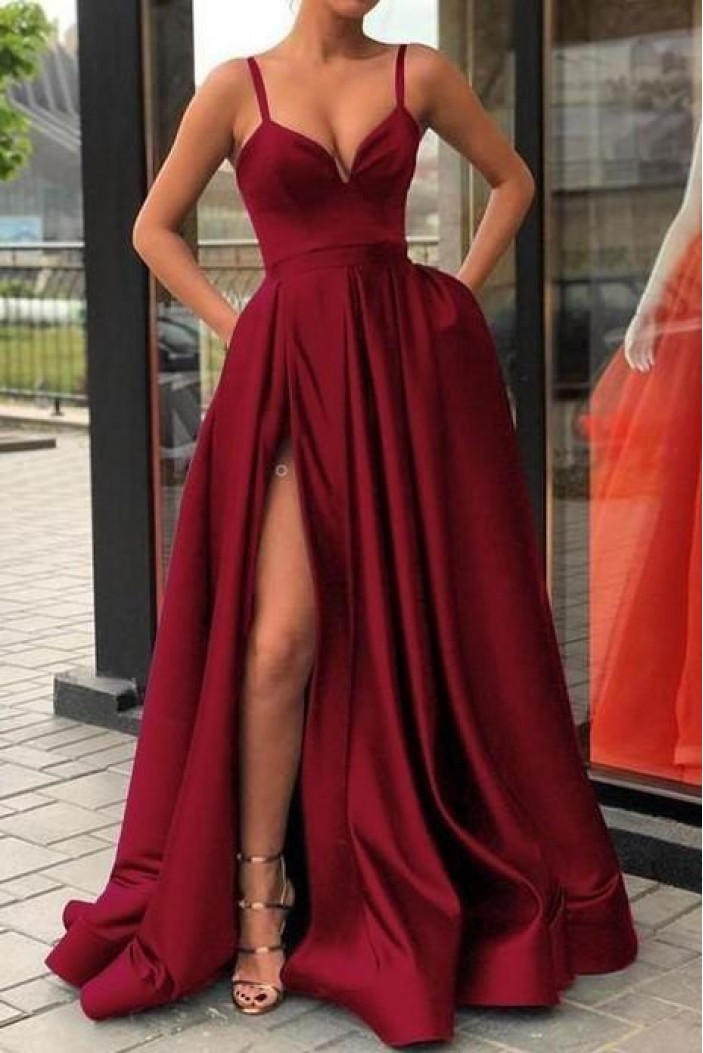 Spaghetti Straps Long Prom Dresses Formal Evening Dresses 601289