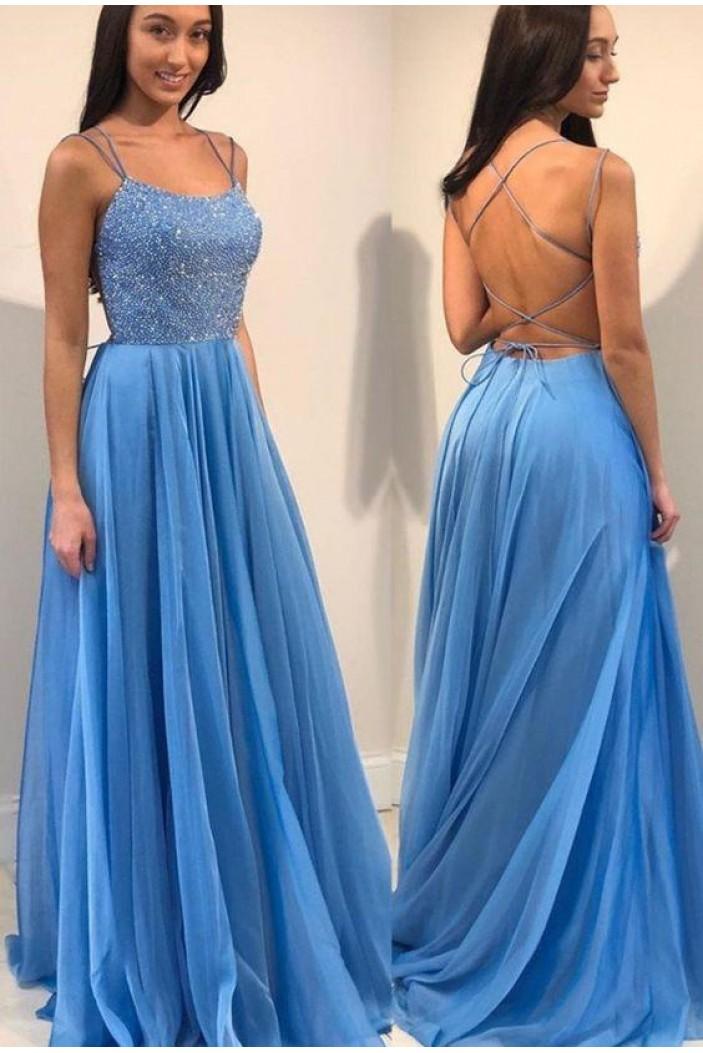 A-Line Beaded Long Prom Dresses Formal Evening Dresses 601296