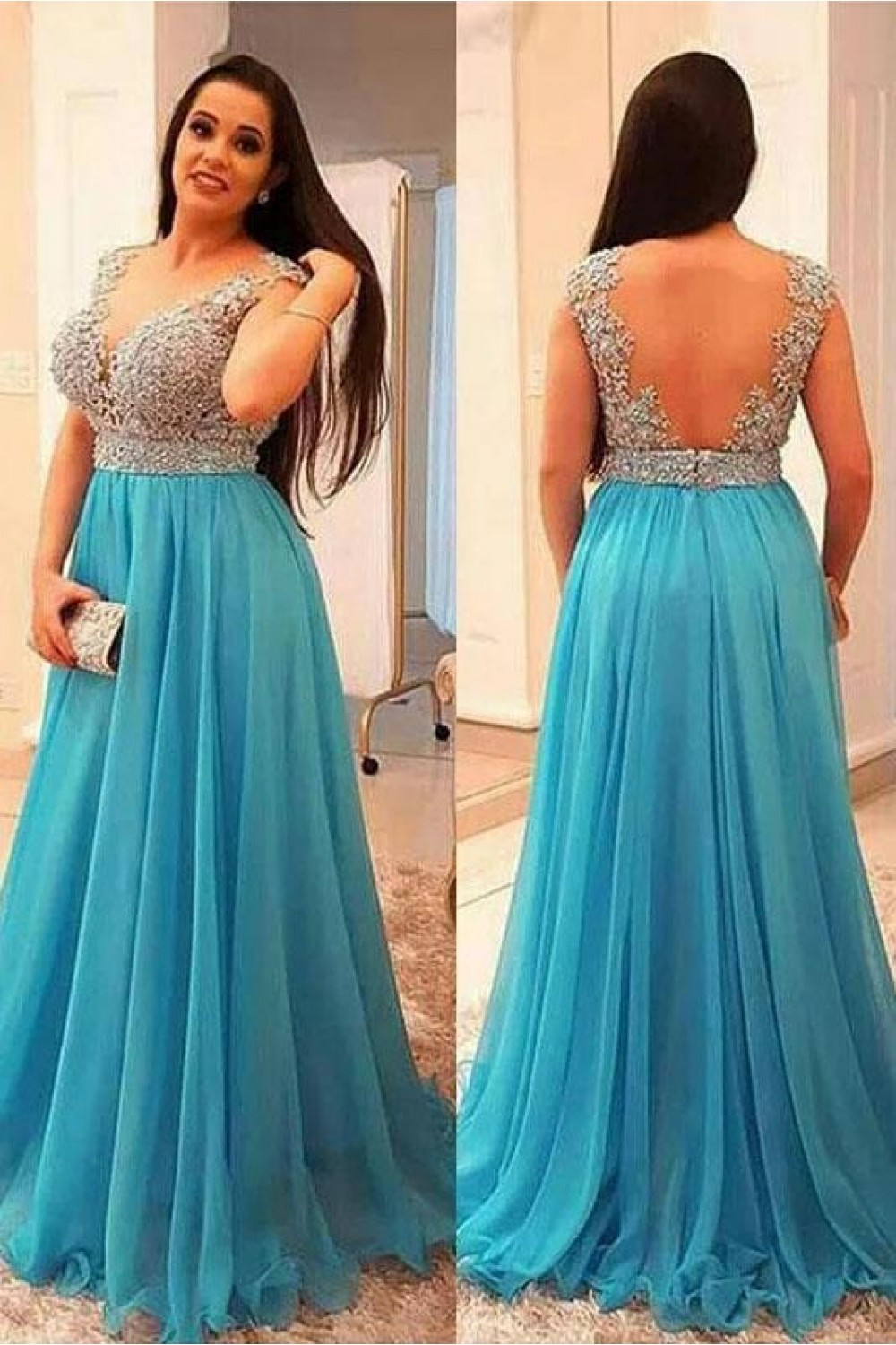 A Line Beaded Lace Appliques Long Prom Dresses Plus Size