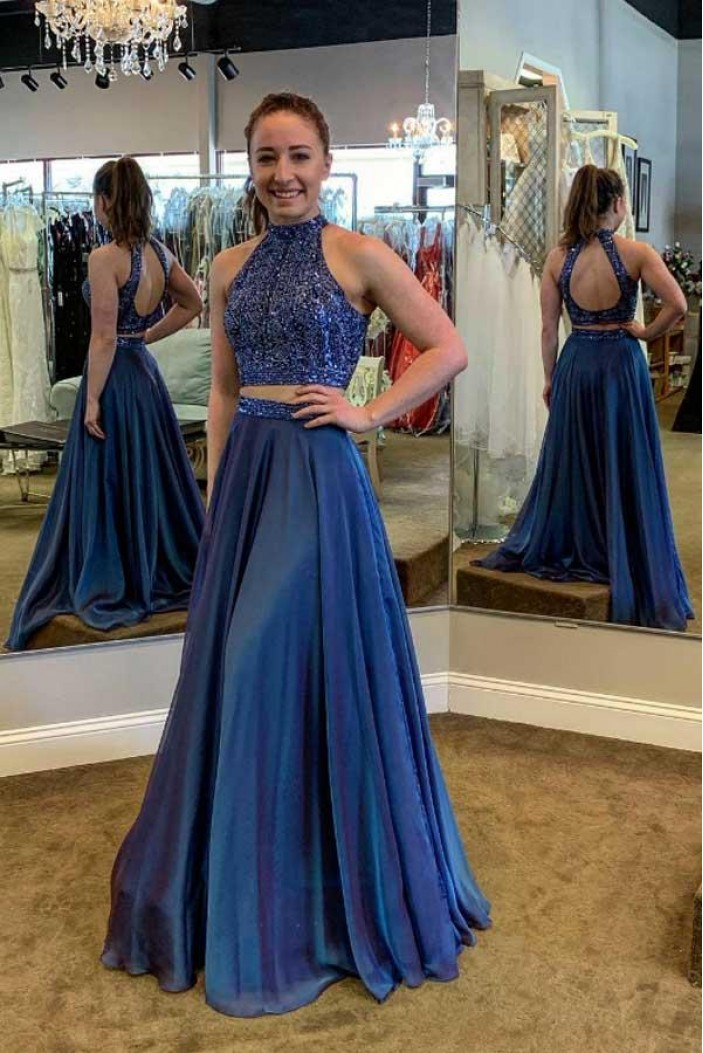 A-Line Two Pieces Beaded Long Prom Dresses Formal Evening Dresses 601330