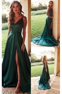 A-Line V-Neck Long Prom Dresses Formal Evening Dresses 601347