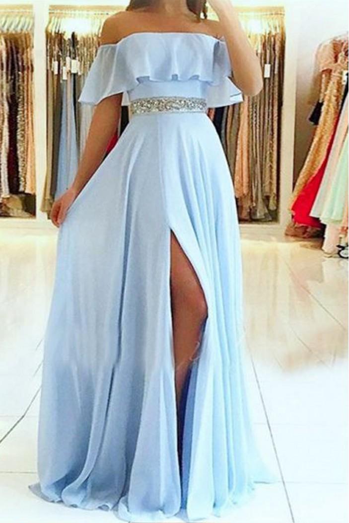 A-Line Off-the-Shoulder Beaded Long Prom Dresses Formal Evening Dresses 601353