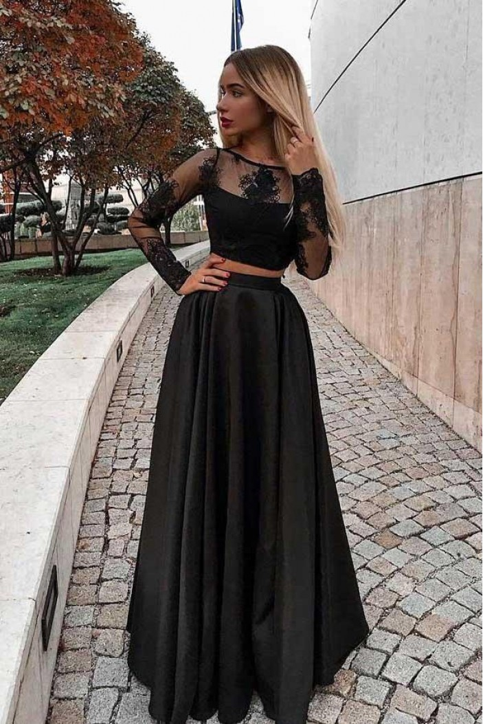 A-Line Two Pieces Lace Long Sleeves Black Prom Dresses Formal Evening Dresses 601354