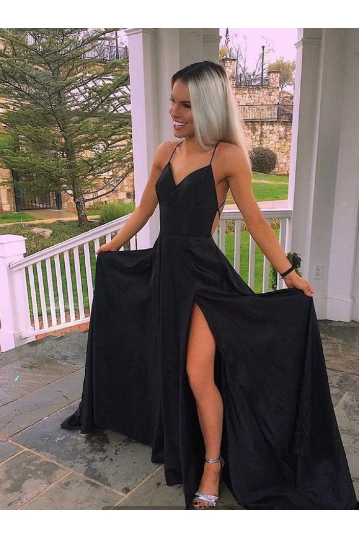 Long Black Spaghetti Straps High Slit Prom Dresses Formal Evening Dresses 601373