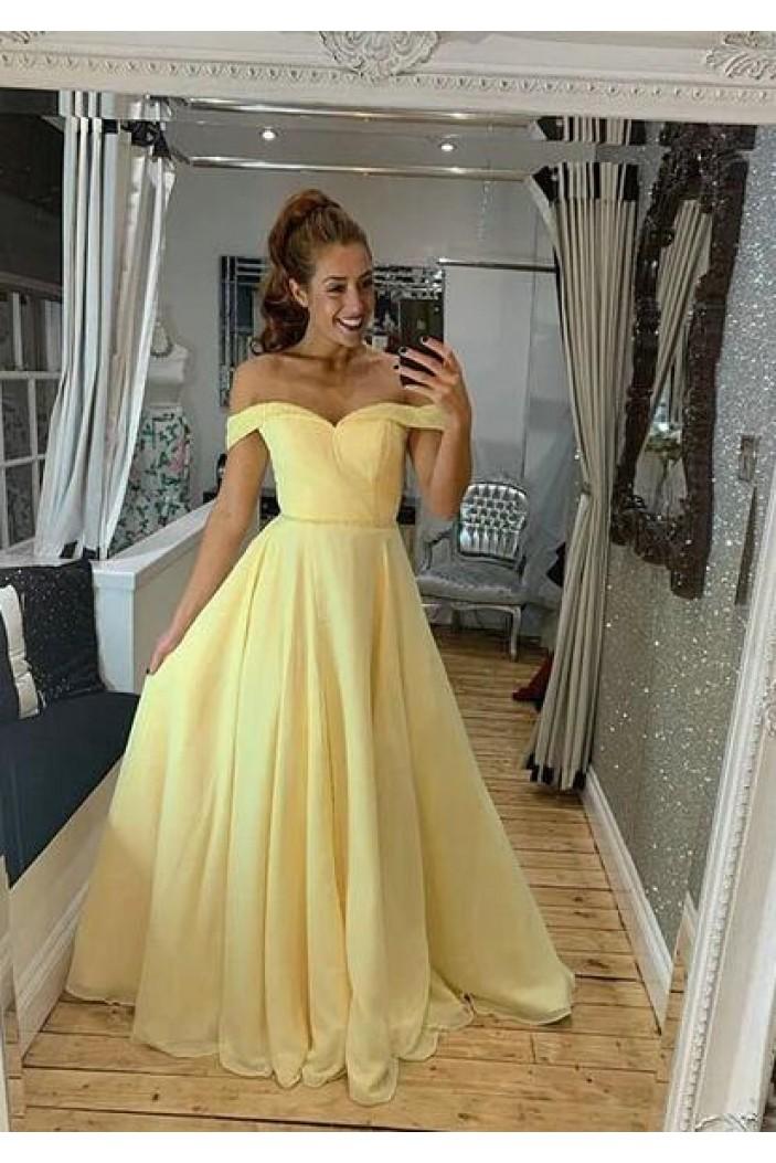 A-Line Off-the-Shoulder Long Prom Dress Formal Evening Dresses 601382