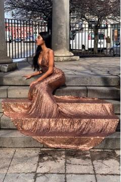 Sexy Mermaid Spaghetti Straps V-neck Sparkling Long Prom Dress Formal Evening Dresses 601392