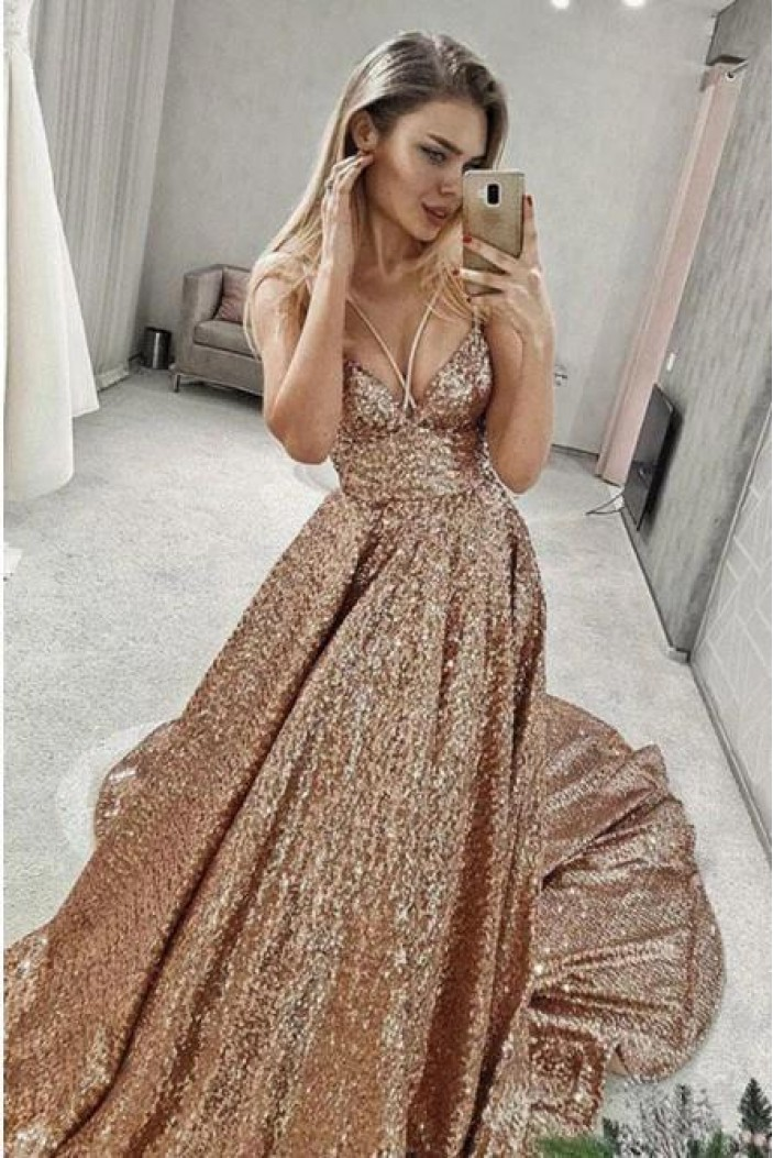 A-Line Sparkling Long Prom Dress Formal Evening Dresses 601396