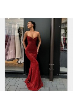 Mermaid Spaghetti Straps Sparkling Long Prom Dress Formal Evening Dresses 601429