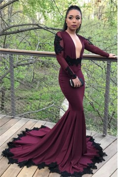 Mermaid Long Sleeves Lace Appliques Long Prom Dress Formal Evening Dresses 601464