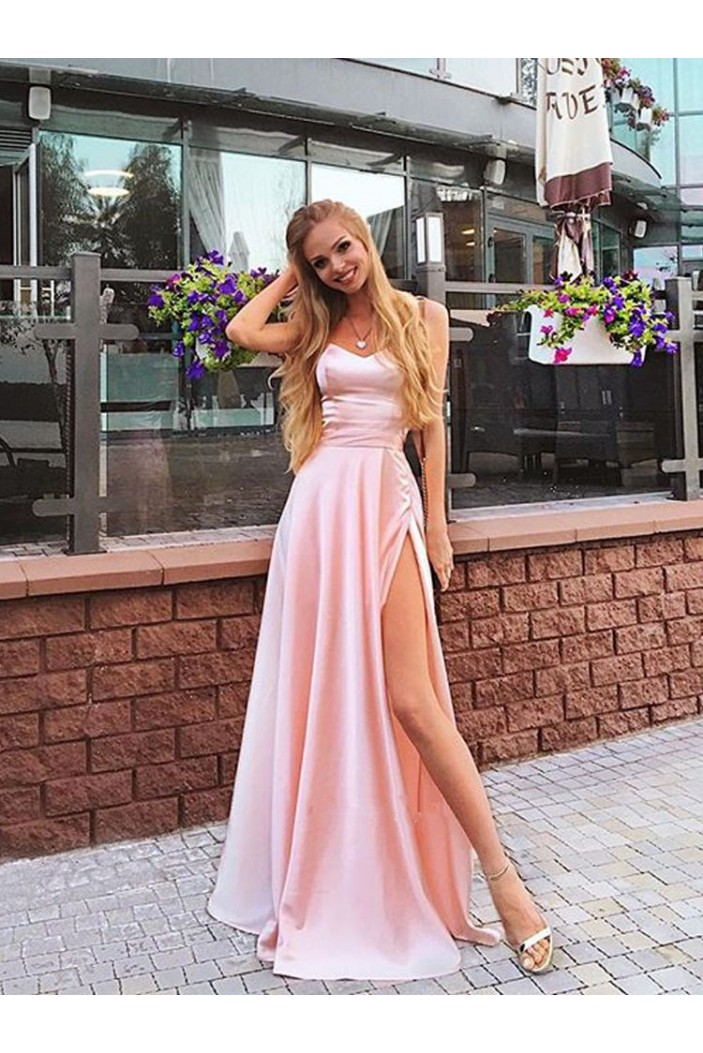 A-Line Long Pink Prom Dress Formal Evening Dresses 601481