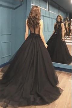 Ball Gown Deep V-Neck Long Prom Dress Formal Evening Dresses 601500