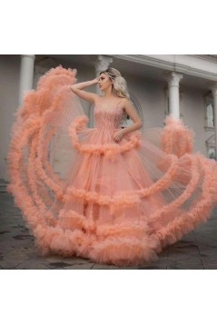 A-Line Beaded Tulle Long Prom Dress Formal Evening Dresses 601511