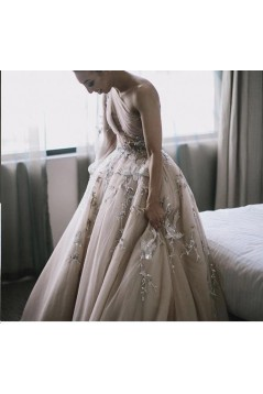 A-Line One-Shoulder Long Prom Dress Formal Evening Dresses 601532