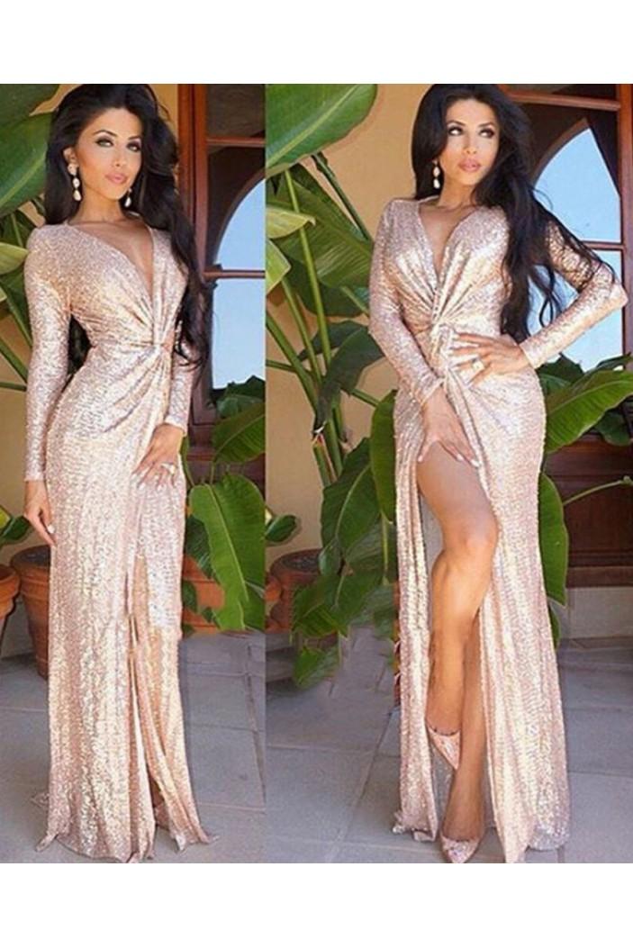 Long Sleeves Deep V-Neck Sequins Long Prom Dress Formal Evening Dresses 601622