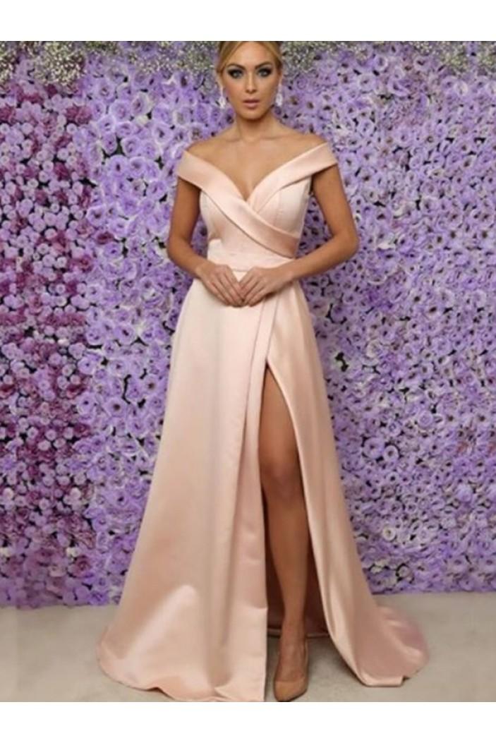 A-Line V-Neck Off-the-Shoulder Long Prom Dress Formal Evening Dresses 601660