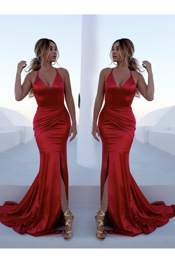 Mermaid V-Neck Long Red Prom Dress Formal Evening Dresses 601663