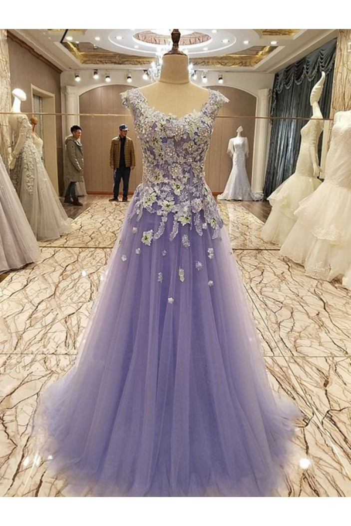 A-Line Beaded Tulle Lace Long Prom Dress Formal Evening Dresses 601703