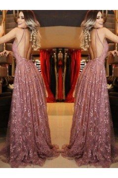 A-Line V-Neck Lace Long Prom Dress Formal Evening Dresses 601730
