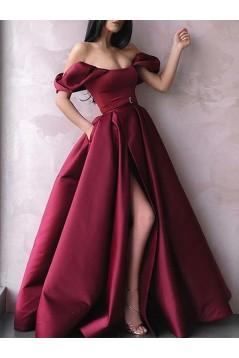 A-Line Off-the-Shoulder Long Prom Dress Formal Evening Dresses 601738