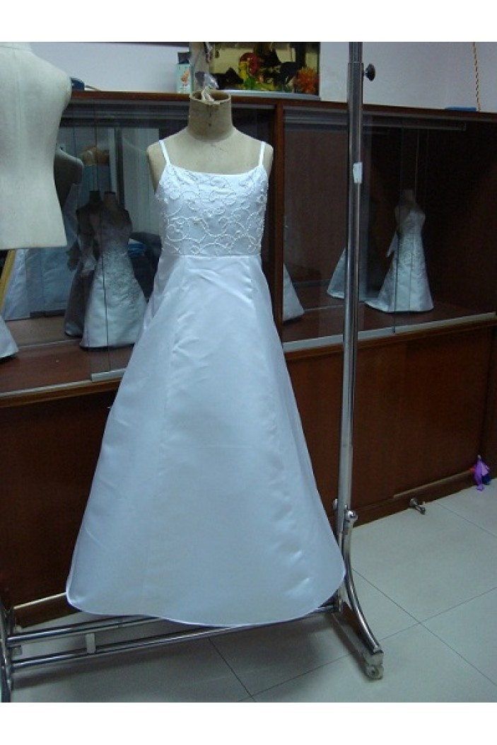 A-Line Beaded Spaghetti Strap Flower Girl Dresses F010017