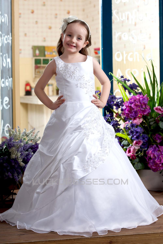 A Line Floor Length Beaded Applique Flower Girl Dresses 2050007