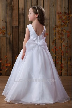 A-Line Beaded Sequins Bowknot Flower Girl Dresses 2050010